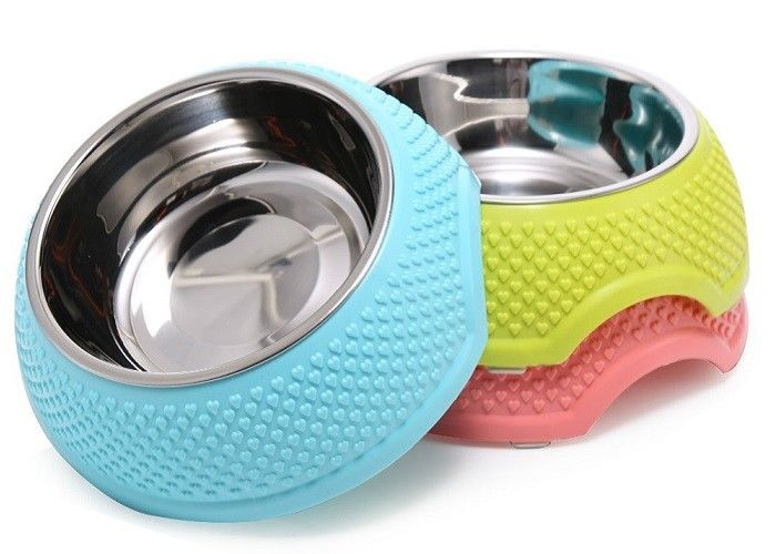 Middle Size Multi Color Plastic Dog Food Bowls 13.5cm 205g Household OEM Accepted