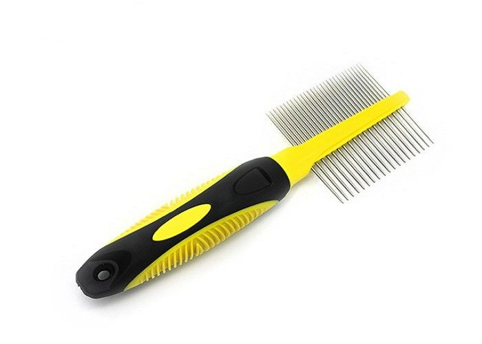 Double Head Needle Dog Grooming Comb , Yellow 84g TPR Rotating Tooth Comb