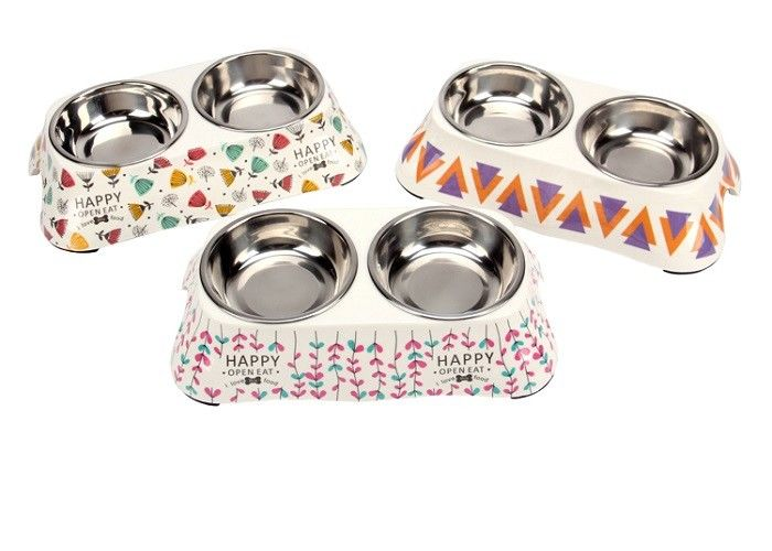 Melamine Double Puppy Feeding Bowl Stainless Steel Various Designs Printing Anti Skid